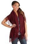 On the Open Roads Shawl in Wine - Knit, Red, Solid, Fringed, Casual, Boho, Better, Variation, Travel