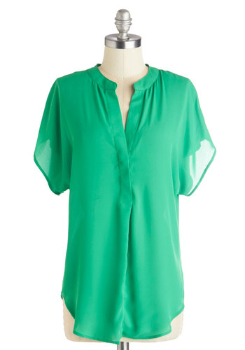 Bask in the Breeze Top in Kelly Green - Green, Short Sleeve, Chiffon, Sheer, Woven, Long, Green, Solid, Buttons, Work, Short Sleeves, Spring, Good, Variation