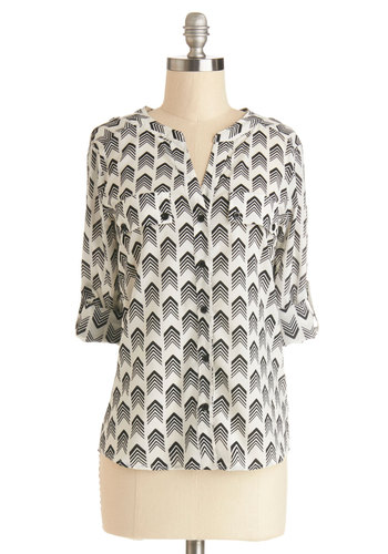 Majorette Meet-up Top - Tab Sleeve, Sheer, Woven, Mid-length, Multi, Black, White, Chevron, Work, Long Sleeve, Good, Black/White, Buttons, Pockets