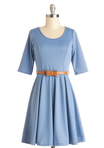 Abiding Beauty Dress in Blue - Blue, Solid, Bows, Belted, Casual, Minimal, A-line, 3/4 Sleeve, Good, Scoop, Knit, Variation, Mid-length