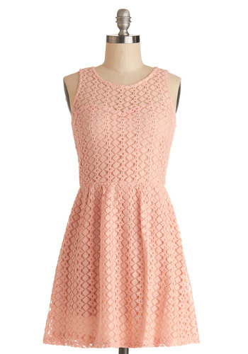 Between Friends Dress - Sheer, Woven, Short, Pink, Solid, Daytime Party, A-line, Sleeveless, Good, Scoop, Lace, Pastel, Lace