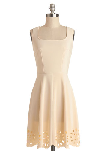 Eyelet Getaway Dress in Ecru - Sheer, Knit, Mid-length, Cream, Solid, Cutout, Casual, A-line, Sleeveless, Good, Sundress