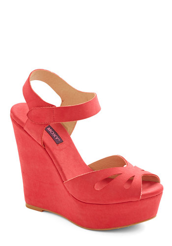 Punch Bowl Planner Heel in Strawberry - Spring, Red, Solid, Cutout, Beach/Resort, Wedge, High, Pink, Press Placement