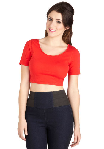 On Crop of the World Top in Red - Jersey, Cotton, Knit, Short, Red, Short Sleeve, Red, Solid, Casual, Valentine's, Cropped, Short Sleeves, Summer, Good, Variation, Scoop, Festival, Fruits, Americana, Spring, Boho
