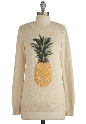 Pineapple of My Eye Sweater by Sugarhill Boutique - Cream, Novelty Print, Fruits, Long Sleeve, Better, International Designer, White, Long Sleeve, Casual, Crew, Mid-length, Cotton, Knit