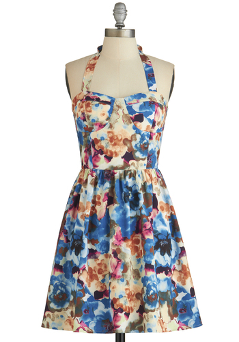 Chic by the Creek Dress - Mid-length, Multi, A-line, Halter, Good, Sweetheart, Floral, Daytime Party, Woven, Sundress