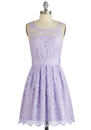 When the Night Comes Dress in Violet by BB Dakota - Wedding, Bridesmaid, Purple, Solid, Lace, Prom, Daytime Party, Graduation, Pastel, A-line, Sleeveless, Better, Exclusives, Variation, Scoop, Sheer, Lace, Spring, Mid-length, Top Rated, Best Seller, Special Occasion, Party, Cocktail, Full-Size Run