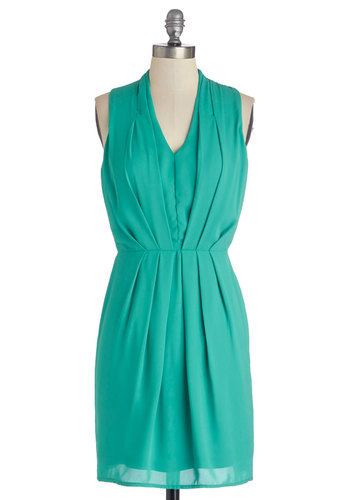 Sublime Melon Dress in Green - Woven, Mid-length, Green, Solid, Pleats, Wedding, Daytime Party, Bridesmaid, Sleeveless, Good, V Neck, Shift