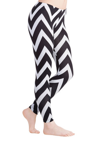 For Chevron's Sake Leggings - Skinny, Good, Mid-Rise, Full length, Black/White, Non-Denim, Cotton, Knit, Black, White, Chevron, Spring, Summer