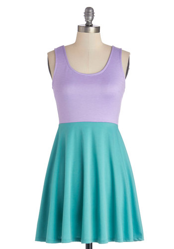 Rad to Success Dress - Jersey, Knit, Short, Green, Purple, Casual, Colorblocking, A-line, Tank top (2 thick straps), Good, Scoop, Sundress, 80s