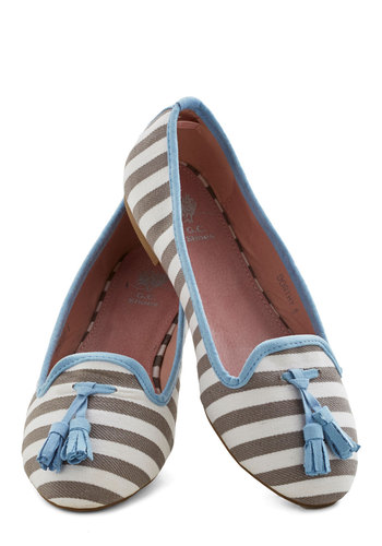Tea and Tassels Flat - Flat, Faux Leather, Woven, Blue, White, Stripes, Tassels, Nautical, Grey