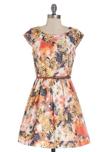 Bubbly Bouquet Dress in Orange - Short, Woven, Multi, Floral, Belted, Casual, A-line, Cap Sleeves, Good, Scoop, Exposed zipper, Pleats, Variation