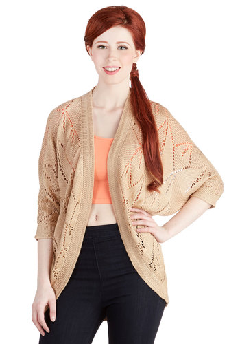 Poetry Flow Cardigan - Sheer, Knit, Mid-length, Tan, Solid, Casual, 3/4 Sleeve, Better, Brown, 3/4 Sleeve, Knitted