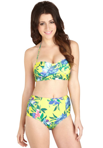 Day Inn, Day Out Two-Piece Swimsuit in Floral by Motel - Knit, Multi, Yellow, Green, Floral, Beach/Resort, High Waist, Halter, Summer, Variation