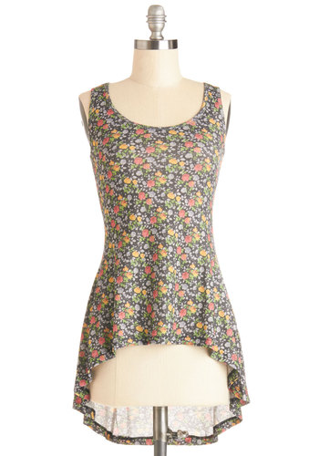 Naturally Yours Top - Mid-length, Sheer, Knit, Multi, Floral, Spring, Summer, Good, Multi, Sleeveless, Braided, Casual, Tank top (2 thick straps), Scoop, Festival, Boho