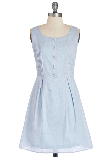 Grand by Me Dress - Cotton, Woven, Short, Blue, Solid, Buttons, Pleats, Casual, A-line, Sleeveless, Good, Scoop, Multi, Pastel