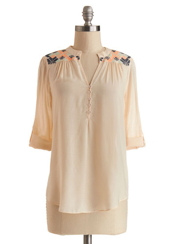 Yurt and Mine Top - Sheer, Woven, Mid-length, Cream, Solid, Embroidery, Boho, Spring, Better, White, Tab Sleeve, Buttons, 3/4 Sleeve, Festival
