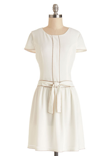Dress Conference - Cream, Solid, Bows, Embroidery, Daytime Party, A-line, Cap Sleeves, Better, Scoop, Woven, Mid-length, White, Scallops, Graduation