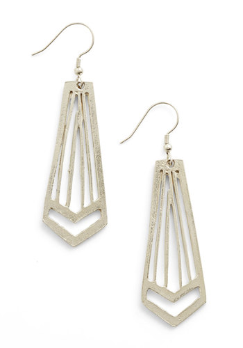 Chicago-getter Earrings by Mata Traders - Solid, Cutout, Silver, Good, Vintage Inspired, 20s, 30s, Eco-Friendly
