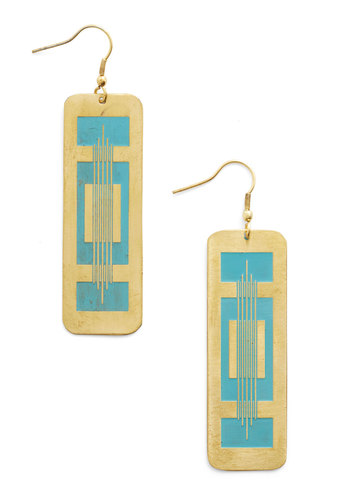 Instrumental to Your Outfit Earrings by Mata Traders - Blue, Solid, Festival, Gold, Good, Eco-Friendly, Boho, Statement