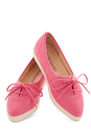 Sweet to See You Flat in Bubblegum by Bait Footwear - Low, Faux Leather, Pink, White, Solid, Lace Up, Casual, Variation, Summer