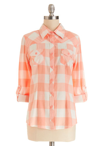 Simply Scout Top in Peach - Cotton, Mid-length, Woven, Orange, White, Plaid, Buttons, Casual, Long Sleeve, Spring, Good, Variation, Orange, Tab Sleeve, Pockets, Collared, Pastel