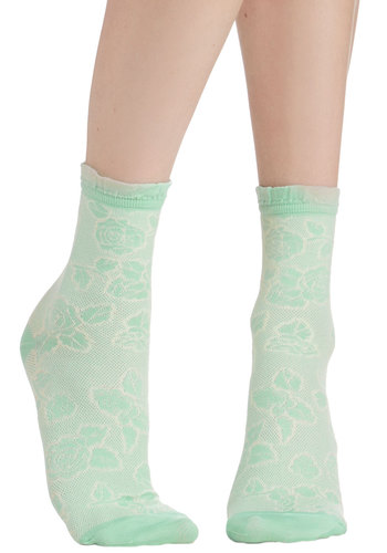 Rest Your Stems Socks in Mint - Knit, Mint, Floral, Ruffles, Casual, Darling, Good, Pastel, Green, Summer, Top Rated