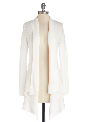 Oh Mellow Again Cardigan - Knit, Mid-length, White, Solid, Long Sleeve, Good, Variation, White, Long Sleeve