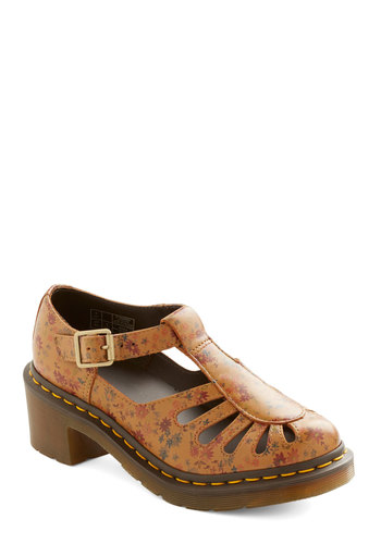 Santa Fe Fete Heel by Dr. Martens - Mid, Faux Leather, Tan, Floral, Buckles, Cutout, Best, T-Strap, Vintage Inspired, 90s, Chunky heel