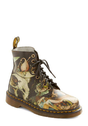 Musings in Madrid Boot by Dr. Martens - Low, Multi, Statement, Urban, Best, Lace Up, Novelty Print, Vintage Inspired, 90s