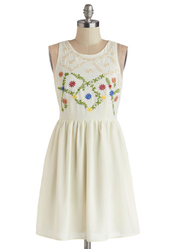 Folksy Fete Dress - Woven, Short, White, Solid, Embroidery, Casual, Festival, A-line, Tank top (2 thick straps), Good, Exposed zipper, Scoop, Boho, Sundress, Summer