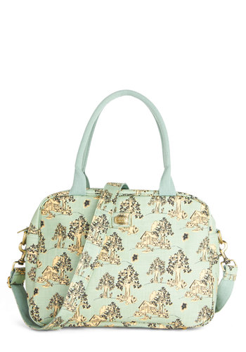 Moving Grin Bag by Ollie & Nic - Woven, Mint, Green, Tan / Cream, Casual, Pastel, Better, International Designer, Novelty Print, Travel, Spring