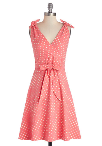 Birthday in Bermuda Dress - White, Polka Dots, Belted, Daytime Party, Vintage Inspired, 50s, A-line, Sleeveless, Better, V Neck, Cotton, Knit, Long, Pink, Sundress, Spring, Summer