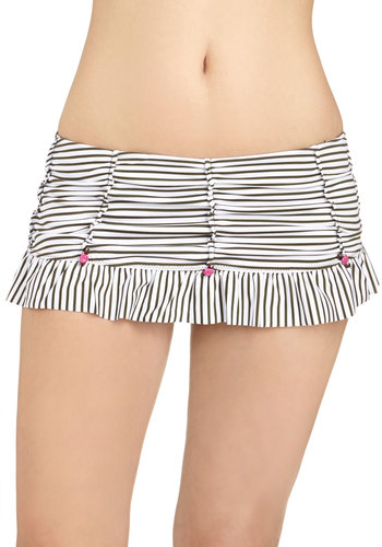 Betsey Johnson All Rosette Up Swimsuit Bottom in Skirt by Betsey Johnson - Knit, White, Pink, Black, Stripes, Flower, Ruffles, Beach/Resort, Summer, Skirted
