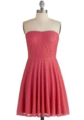Leaf it to Chance Dress - Red, Solid, Lace, Sundress, A-line, Strapless, Good, Mid-length, Casual, Party