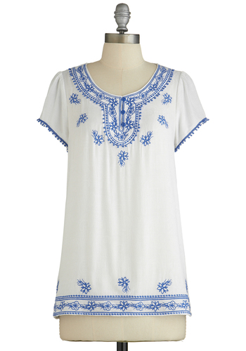 Santorini Scene Top - Better, White, Short Sleeve, Sheer, Woven, Mid-length, White, Blue, Buttons, Embroidery, Trim, Casual, Boho, Vintage Inspired, 70s, Festival, Short Sleeves, Scoop, Spring, Summer, Good