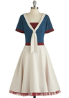 Dreamy Drift Dress by Bettie Page - Nautical, Tie Neck, Casual, A-line, Short Sleeves, Better, Cream, Red, Blue, Solid, Stripes