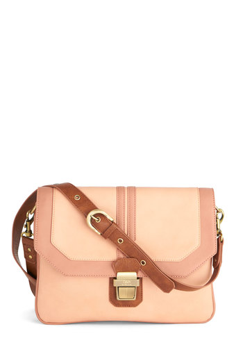 Architecture Outing Bag by Ollie & Nic - Solid, Better, International Designer, Cotton, Faux Leather, Pink, Tan / Cream, Trim, Pink, Work, Pastel