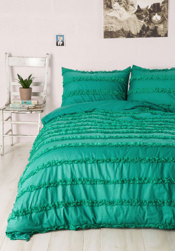 Such Sweet Slumber Duvet Cover in Full/Queen - Cotton, Woven, Mixed Media, Green, Ruffles, Owls, Best, Exclusives, Dorm Decor