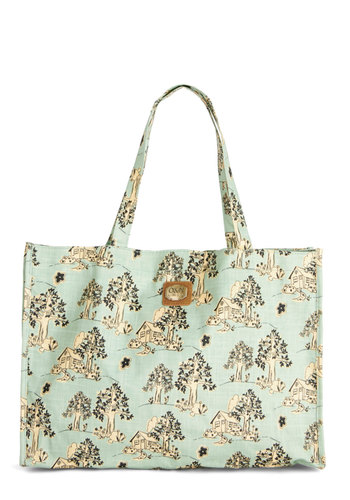 Moving Grin Tote by Ollie & Nic - Woven, Mint, Green, Tan / Cream, Work, Good, International Designer, Novelty Print, Travel, Spring, Pastel