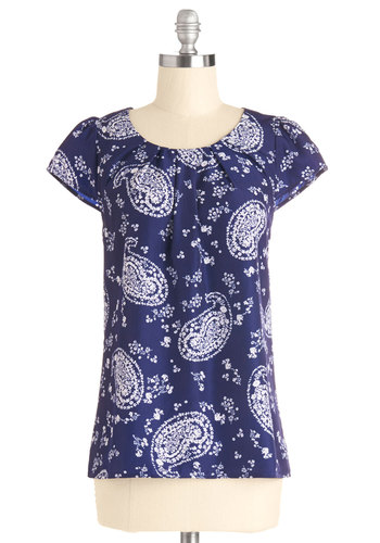 Steal the Show Top in Paisley - Good, Blue, Short Sleeve, Mid-length, Chiffon, Woven, White, Paisley, Casual, Spring, Summer, Exclusives, Blue, Cap Sleeves, Variation, Scoop