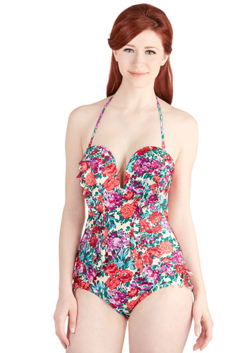 Romp in Ruffles One-Piece Swimsuit - Multi, Floral, Beach/Resort, Strapless, Summer, Best, Knit, Vintage Inspired, Ruffles