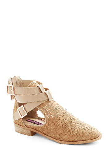 At the Cutting Edge Bootie in Beige - Low, Leather, Suede, Tan, Solid, Buckles, Cutout, Better, Variation, Festival, Boho