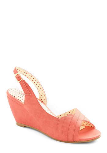 With the Ladies Wedge in Reef by Bait Footwear - Mid, Faux Leather, Pink, Solid, Prom, Wedding, Party, Bridesmaid, Valentine's, Better, Peep Toe, Slingback, Wedge, Variation