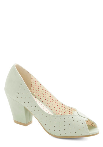 Restaurant Reviewer Heel in Mint by Bait Footwear - Mid, Faux Leather, Mint, Solid, Cutout, Wedding, Party, Daytime Party, Bridesmaid, Better, Peep Toe, Chunky heel, Pastel, Graduation, Variation