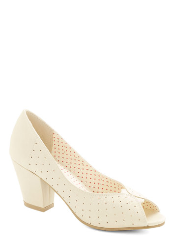Restaurant Reviewer Heel in Vanilla by Bait Footwear - Mid, Faux Leather, Cream, Solid, Cutout, Wedding, Party, Bride, Valentine's, Better, Peep Toe, Chunky heel, Variation