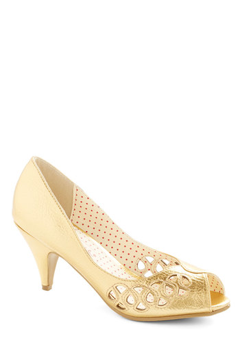 Rise and Shine to the Occasion Heel by Bait Footwear - Mid, Faux Leather, Gold, Solid, Cutout, Special Occasion, Prom, Wedding, Party, Cocktail, Holiday Party, Bridesmaid, Luxe, Better, Peep Toe, Variation