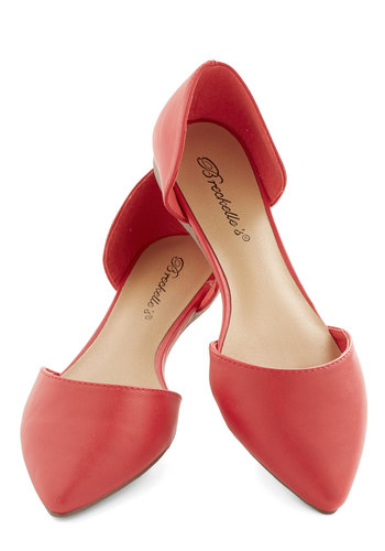 D'Orsay My Name Flat - Flat, Faux Leather, Red, Solid, Party, Valentine's, Minimal, Good, Work