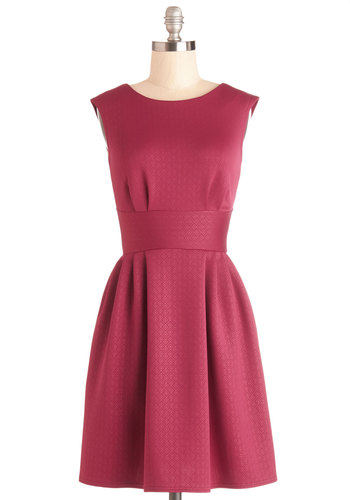 Boy Oh Boysenberry Dress by Closet - Knit, Mid-length, Solid, Pleats, Party, A-line, Sleeveless, Better, Pink, Exposed zipper