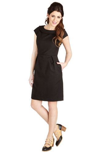 Conference Confidence Dress by Myrtlewood - Woven, Mid-length, Black, Solid, Pockets, Work, Sheath / Shift, Cap Sleeves, Better, Exclusives, Private Label, LBD